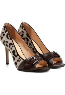 Peep Toe Couro Shoestock Salto Fino Animal Print - Feminino