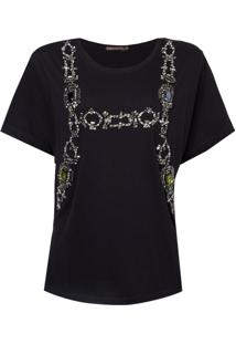 Camiseta Bobô Bordada Chloe Feminina (Preto, Gg)