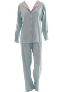 Pijama Longo Em Malha Rmb Lingerie Coração Verde