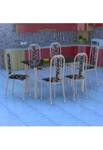 Conjunto De Mesa Com 6 Cadeiras Granada Prata E Preto Floral Gr