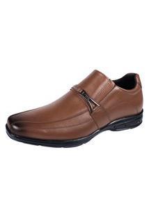 Sapato Social Ortopedico Hype Couro Bico Quadrado Palmilha Gel Confort Marrom Claro