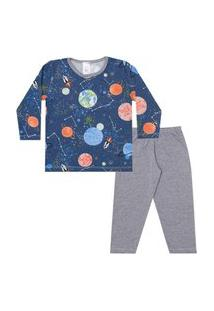 Conjunto Pijama Menino Em M/Malha Camiseta Rotativa Planetas Azul Esuro E Calça Mescla - Liga Nessa