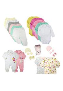 Kit Roupas De Bebê 21 Peças Enxoval Completo Menino E Menina Rosa