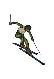 Escultura De Parede Metal Homen Esquiando Vintage 50X110X2Cm