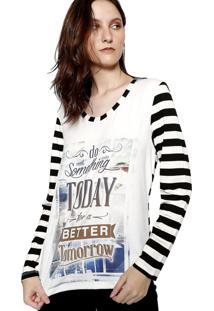 T-Shirt Manga Longa Energia Fashion Branco Preto - Branco - Feminino - Dafiti