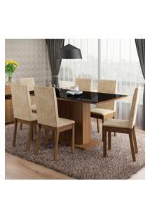 Conjunto Sala De Jantar Romênia Madesa Mesa Tampo De Vidro Com 6 Cadeiras Marrom