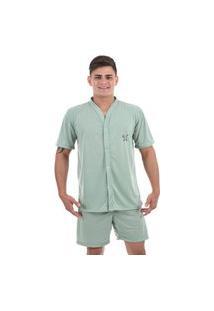 Pijama 4 Estações Masculino Adulto Com Botáo Aberto Short Curto Veráo Conforto Verde