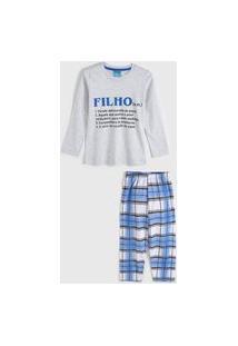 Pijama Daisy Days Longo Infantil Lettering Cinza/Azul