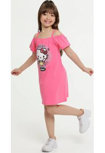 Vestido Infantil Open Shoulder Hello Kitty Sanrio