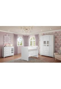 Dormitório Ariel 4 Portas Branco Fosco Carolina Baby