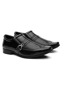 Sapato Social Masculino Verniz Bico Quadrado Conforto Macio Preto