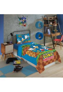 Jogo De Cama Infantil Solteiro Lepper Sonic 3 Peças Azul