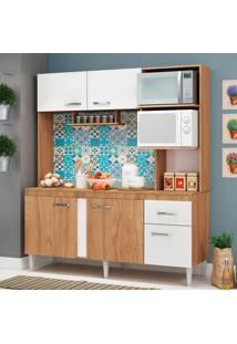 Cozinha Compacta Julia Com Tampo 5 Pt 1 Gv Nogal E Branco
