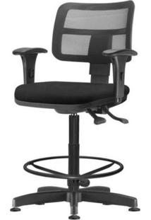 Cadeira Zip Tela Com Bracos Assento Courino Preto Base Caixa Fixa Metalica - 54418 - Sun House