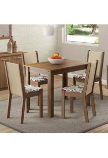 Conjunto Sala De Jantar Cíntia Madesa Mesa Tampo De Madeira Com 4 Cadeiras Marrom - Tricae