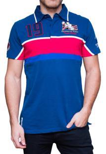 c877b8ff0a28c Camisa Polo Kevingston Taylor Rugby Uk Azul Vermelho