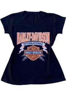 Camiseta Harley Davidson Feminina - Feminino-Preto