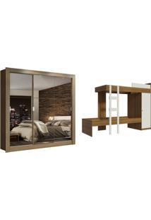 Kit Madesa Guarda-Roupa Infantil Texas 3 Portas De Correr De Espelho + Beliche Larissa