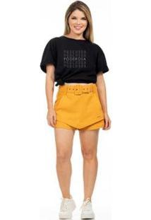 Camiseta Clara Arruda Poderosa Feminina - Feminino-Preto