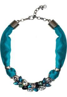 Colar Armazem Rr Bijoux Tecido Cristal Azul Grafite