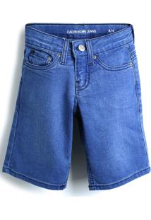 Bermuda Jeans Calvin Klein Kids Menina Lisa Azul