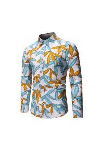 Camisa Masculina Estampa Florida - Azul E Amarela