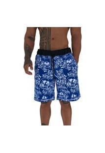 Bermuda Masculina Alto Conceito Moletom Limitado Caveiras E Rosas Azul Escuro