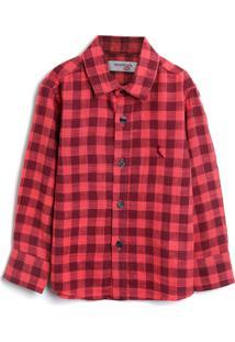 Camisa Reserva Mini Menino Xadrez Vermelha - Vermelho - Menino - Algodã£O - Dafiti