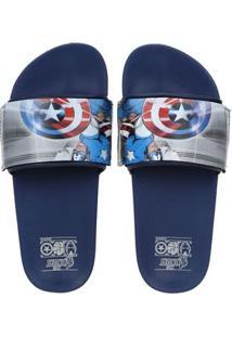 Chinelo Slide Avengers Infantil Para Menino - Azul