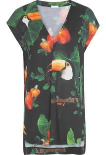 Camiseta Feminina Sleeveless Over Caju - Preto
