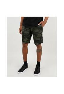 Bermuda De Sarja Masculina Slim Em Moletom Estampada Camuflada Verde Militar