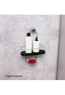 Porta Shampoo Wave- Preto & Prateado- 34,5X25X10Cm