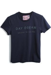 Camiseta Colcci Fun Menina Escrita Azul-Marinho