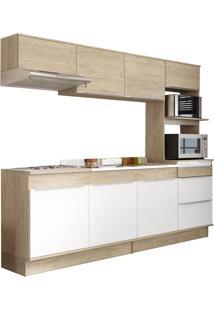 Cozinha Compacta Com Rodapé Decibal Slim 7 Portas Acácia/Branco
