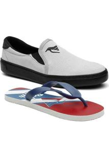 Kit Infantil Slip On + Chinelo Polo North Masculino - Masculino-Cinza