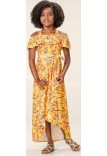 Vestido Amarelo Longo Floral