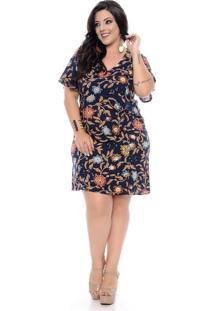 Vestido Azul Floral Plus Size
