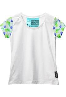 Camiseta Baby Look Feminina Algodão Estampa Folha Macia Moda - Feminino-Branco+Verde Claro