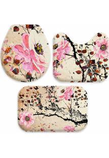 Jogo Tapetes Love Decor Para Banheiro Pintura Flores Rosa Único - Tricae