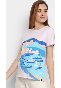 Camiseta Cantão Estampada Feminina - Feminino-Lilás