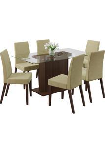 Conjunto Sala De Jantar Madesa Mesa Com Tampo De Vidro E 6 Cadeiras Carla - Tabaco/ Saara