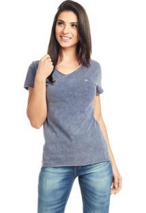 Camiseta Bossa Brasil Logo Azul Marmorizado - Azul - Feminino - Algodã£O - Dafiti