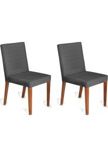 Conjunto Com 2 Cadeiras Dóris Veludo Chumbo