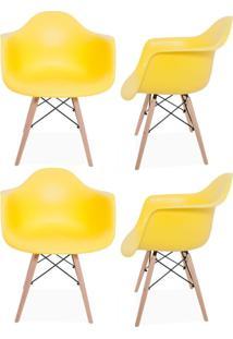Kit 04 Cadeiras Decorativas Lyam Decor Melbourne Amarelo.