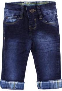 Calça Para Bebê Mox Jeans Menino Com Lavagem Especial Barra Xadrez