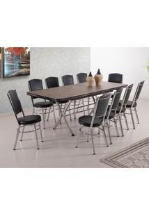 Conjunto De Mesa De Jantar Extensível Com 10 Cadeiras Avila Ameixa Negra E Preto