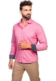 Camisa Manga Longa Tony Menswear Slim Com Bolso E Poá Pink