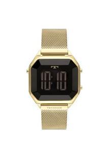 Relógio Luxo Technos Feminino Digital Crystal Dourado