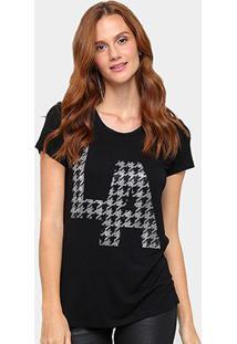 Camiseta Facinelli Estampa La Feminina - Feminino-Preto