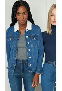 Jaqueta Azul Escuro Slim Jeans Com Aplique